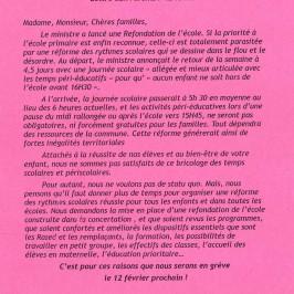 Soutien à la grève des enseignants du mardi 12 février